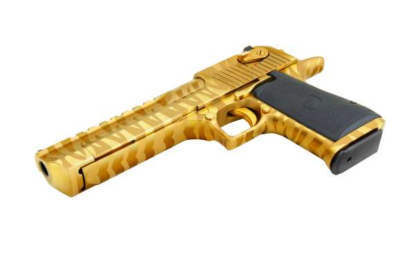 "Magnum Research Desert Eagle 6"" Gold Tiger Stripes .50 AE"